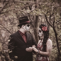 The Walton-Hutchison's Sugar Skull Engagement Session at Calgary's Riley Park
