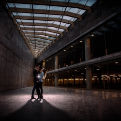 The Laliberte's Engagement Session at The Bow in Downtown Calgary