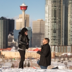 The Skidmore's Surprise Engagement Session at Calgary's Scotsmans Hill