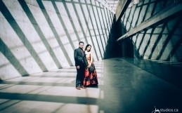 The Bhatt's Engagement Session at Calgary's Historic SAIT Campus