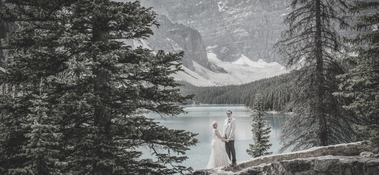 Steffens' Same Day Edits of their Mountain Wedding at Moraine Lake in Banff National Park