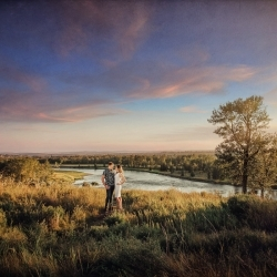 The Gartner-Rose Engagement Session at DouglasDale Point Overlooking the Bow River
